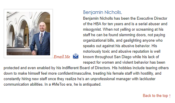 Screenshot of HBA website in March 2019 showing the employee bio for HBA's Executive Director.