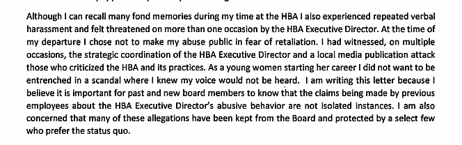 Excerpt of a letter (from a former employee) sent to the current HBA Board of Directors in April 2019.
