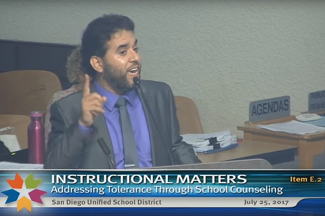 Hanif Mohebi at July 25, 2017 Board of Education meeting.