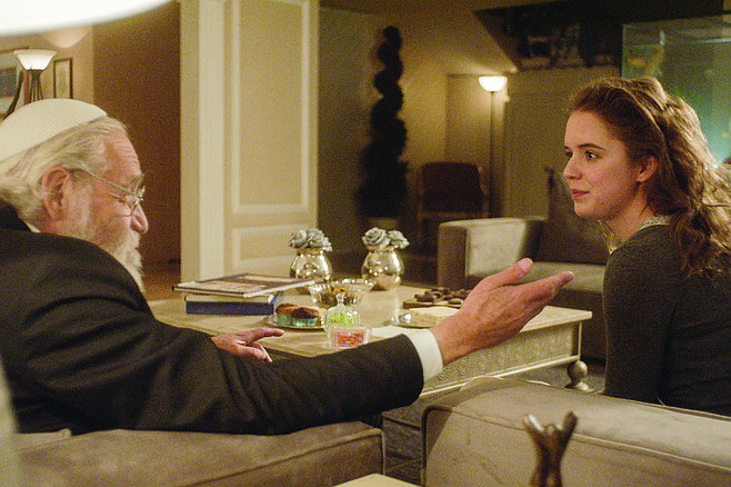 "Leona: The Rabbi cautions Ariela (Naian González Norvind), ""Ixnay on the oygay."""