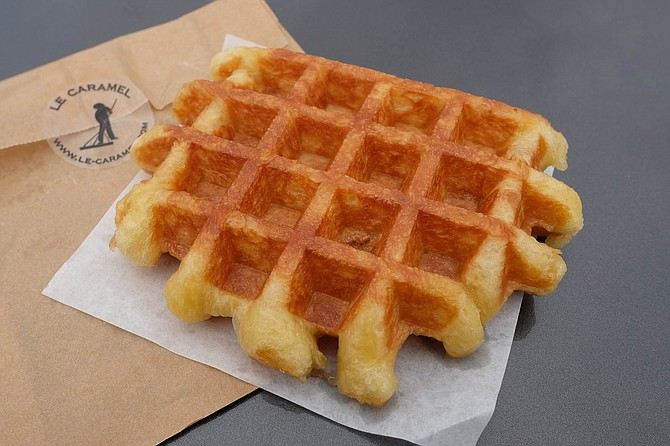A Belgian waffle, served Wednesdays at Le Caramel