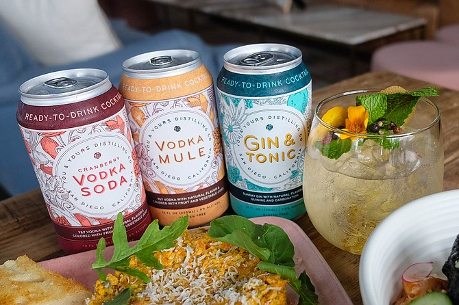 Canned cocktails, gin and tonic, poke salad, and carrot tartare at You & Yours