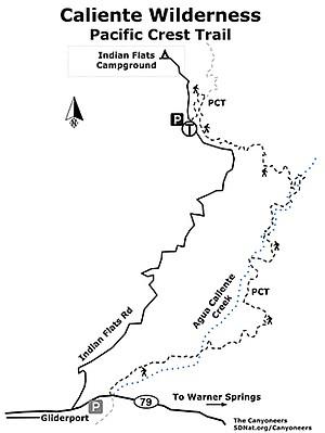 Caliente Wilderness map