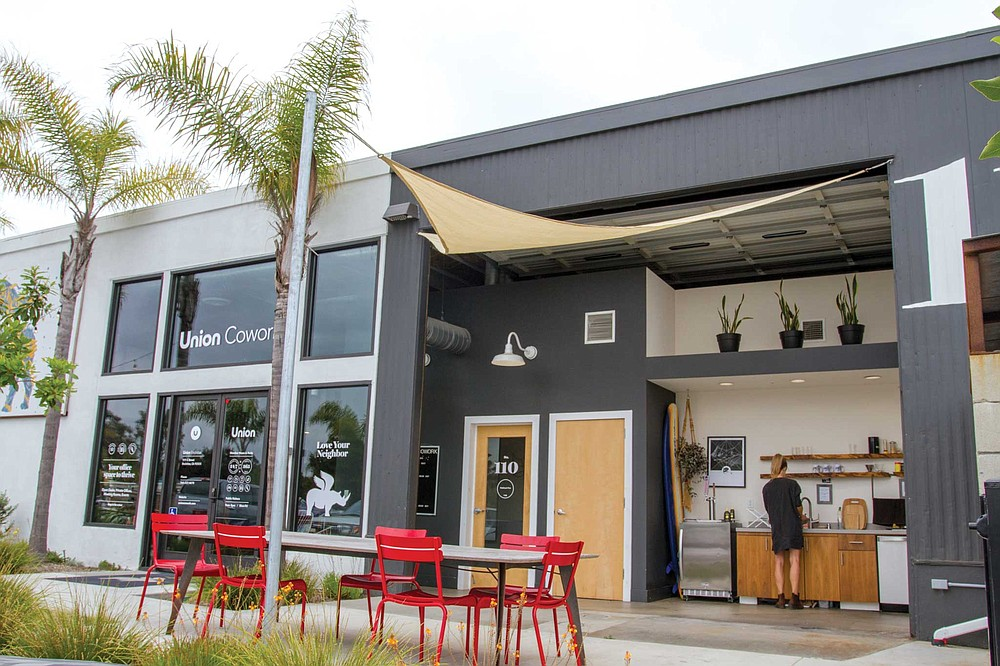 Union Cowork in Encinitas has 14 private offices that range from 120 to 640 square feet for $1750 to $2500 per month; eight more flex-desks upstairs, plus two lounge areas, three conference rooms, and a kitchen (with free beer, kombucha, coffee, and tea).