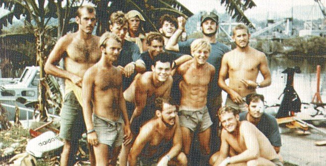 From UDT 12 cruise book, Ventura on far left. SEAL Team One, with roughly the same number of men as UDT 12, had 34 killed during the war. I knew many of them. UDT 12  lost but a single man. 34:1.
