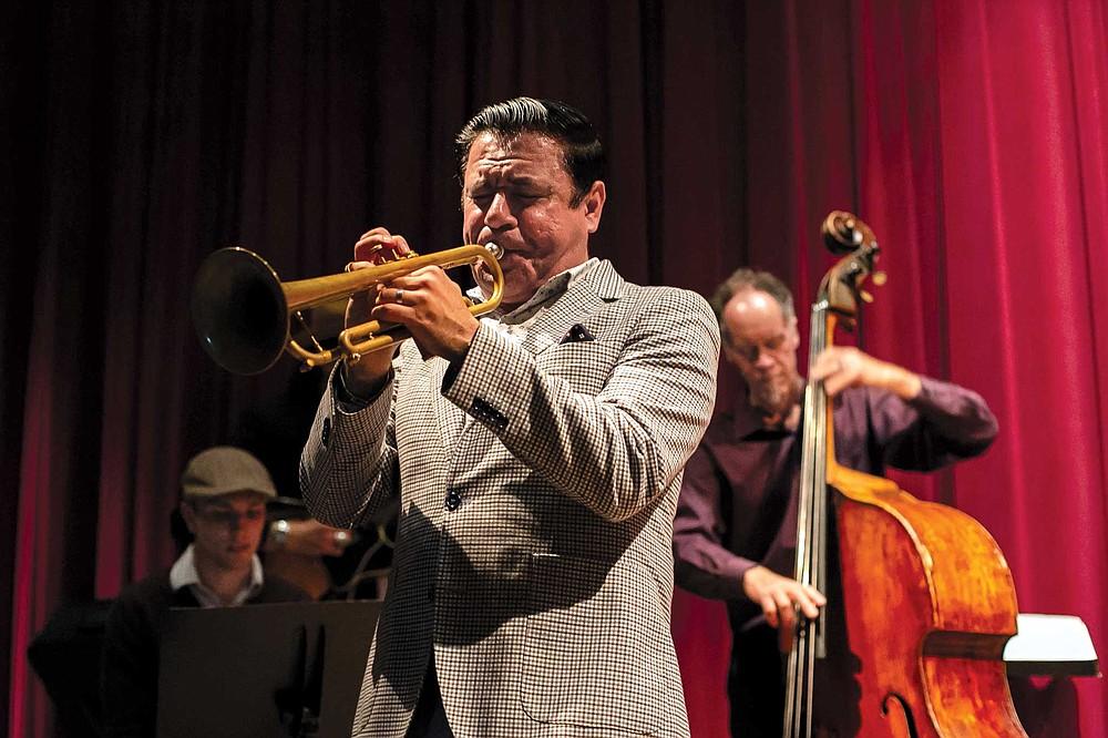 Gilbert C. Castellanos performs at the Wednesday night jazz jam at Panama 66 in Balboa Park.