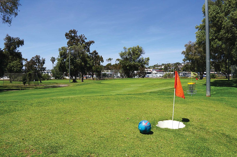 The lack of hills makes Mission Bay the superior course for footgolf newbies.