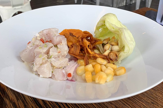 Sole ceviche with sweet potatoes and the huge corn kernels of choclo