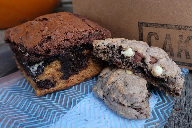 A slutty brownie and cookies + cream double chocolate chip cookie