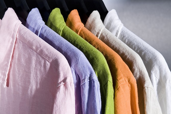Linen is the best fabric to wear in the heat, and it looks great.