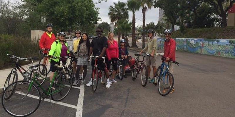 River trail group bike ride