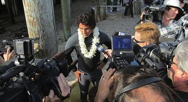 Ken Aranda, brother of Summer McStay, at the paddle-out for the McStays in January, 2014