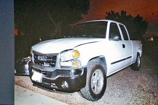 Officers found the parked, damaged truck within an hour