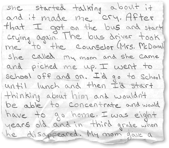 At 11 years old, Kamaryn Peters wrote a paper about coping with her brother's disappearance