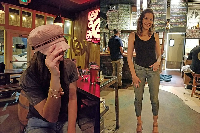 Boutique bracelets and pink baker boy hat; Taylor struts the brew house in searsucker jeans and ankle strap heels