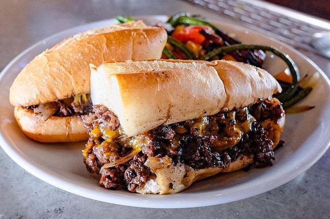A meaty short rib cheesesteak