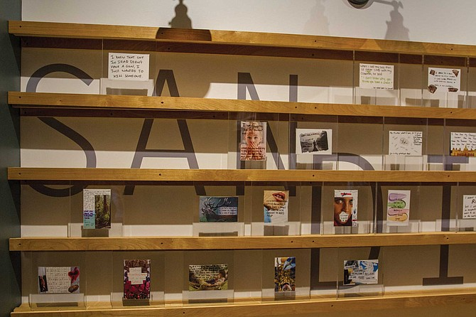 """Frank Warren sees the PostSecret project as community art, and we see our exhibition in the same way. We try to keep a balance in the way we display the postcards so that we not only have compelling secrets but visually compelling secrets."""