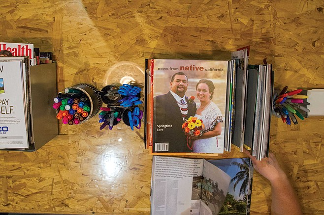 In the last room visitors see, a long table is available with colored markers, magazines for cutting out pictures and glue to attach them to the cards.