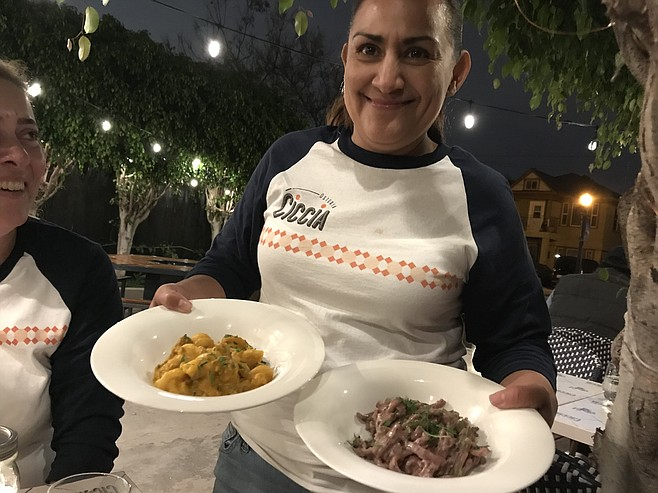 Maria brings my Sombreri (left), and Ubriaca pasta
