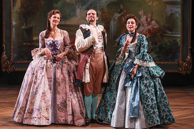 Meredith Garretson as Rosalind, Vincent Randazzo as Touchstone, and Nikki Massoud as Celia.