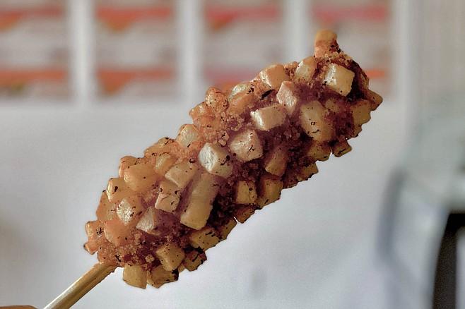 Fried potatoes help encrust this corn dog alternative.