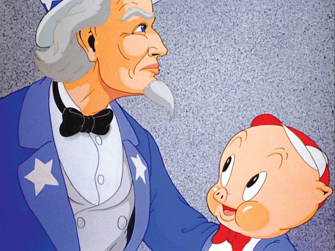 Uncle Sam serves up a civics lesson for Porky to ponder in Old Glory.