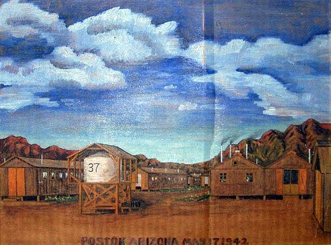 Painting of Aileen Oya's internment camp home for three years. Painting by Tom Tanaka