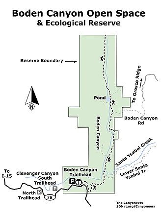 Boden Canyon Ecological Reserve map
