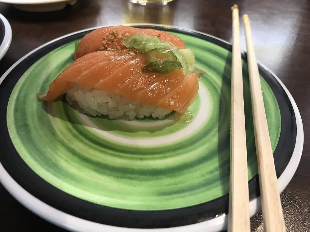 My umami oil salmon nigiri: sesame flavors