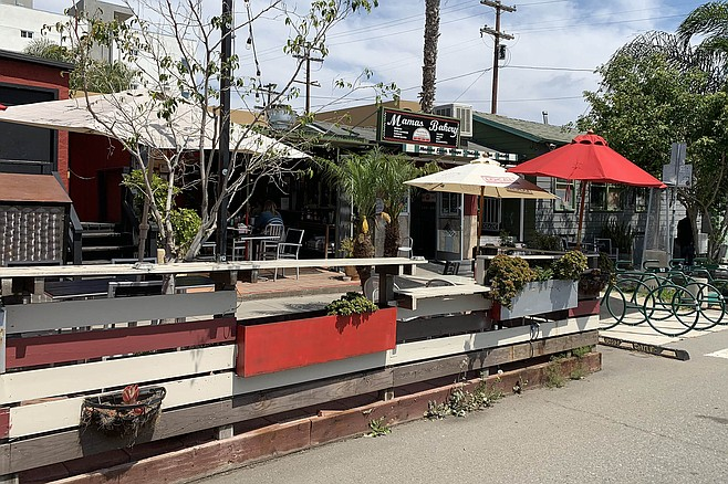 A parklet adds additional outdoor seating at North Park mainstay Mama's Bakery and Deli.