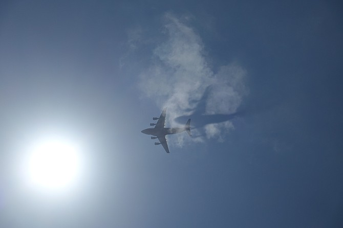 Shot was taken of a C-5 while sailing on San Diego bay