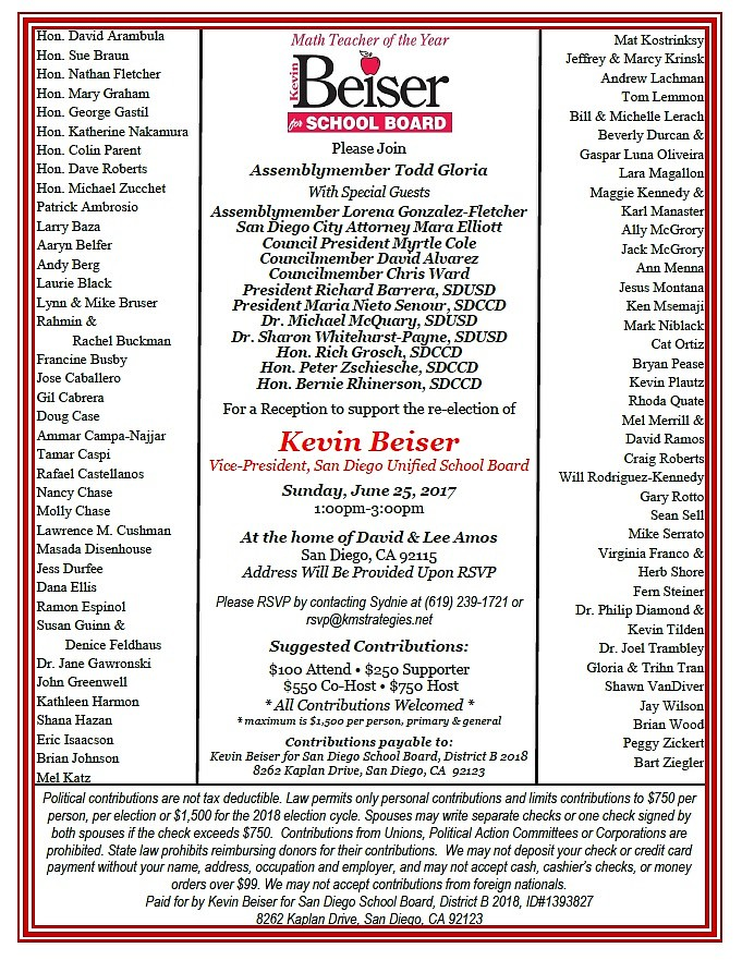 Kevin Beiser invitation featuring Todd Gloria