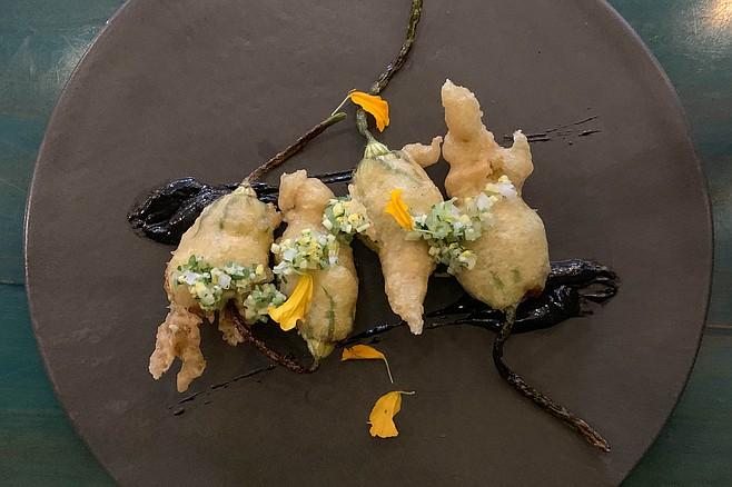 Crispy, crab stuffed fried zucchini blossoms
