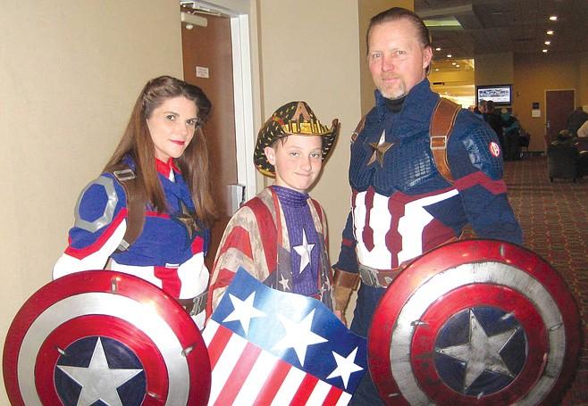 Shawn Richter, Lisa Lower, Gavin Richter as Captain America family