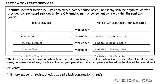 Partial image of City of San Diego Organization Lobbyist Registration Form EC-602, Filing ID 179146457, 04/15/2019, page 7.