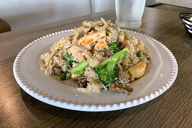 Combination fried rice featuring shrimp that isn't shrimp
