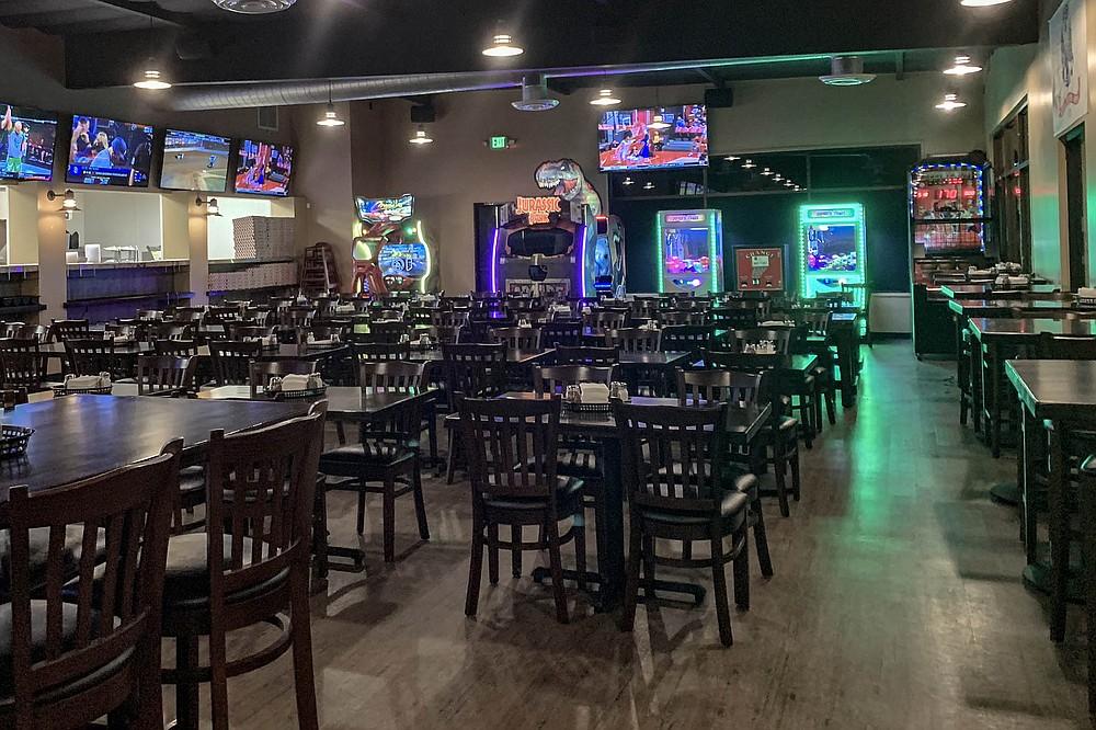 Half dining room, half sports bar