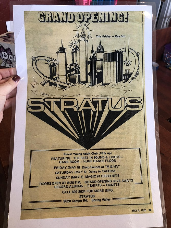 The 1978 Stratus Grand Opening flyer that hung in the Encore! Theater bathroom for decades.