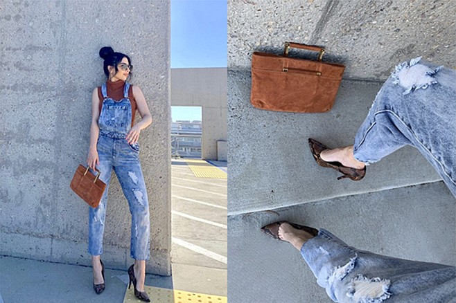 This entire look was under $15; Karen completes the look with faux snakeskin pumps and a suede bag
