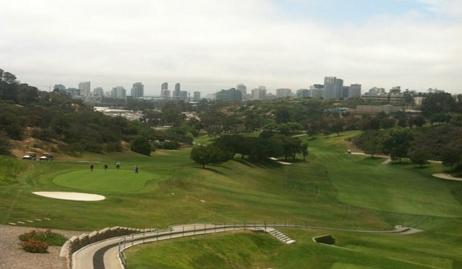 """Balboa Park golf course. """"This course will challenge your ability to keep the ball in the narrow fairways."""""""