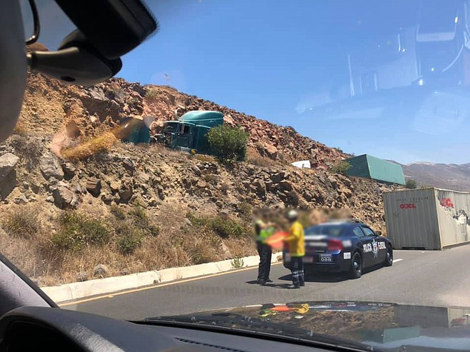 On July 19, south of where Vargas-Valdez broke down, a semi truck lost control on the toll road (by Salsipuedes).