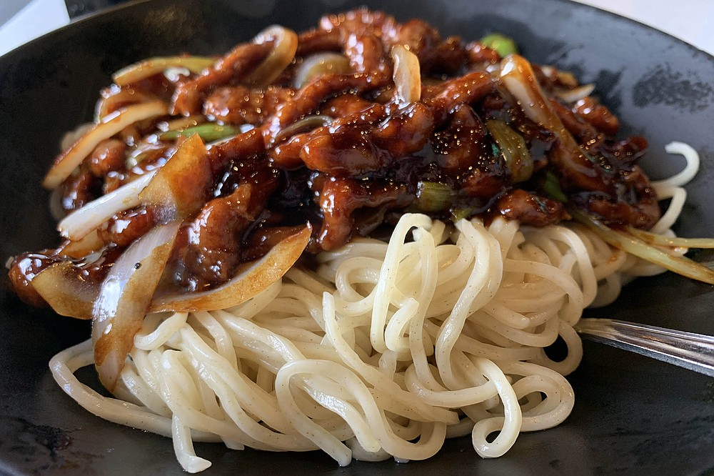 Ginger scallion beef noodles, a solid choice for fans of spaghetti and meatballs