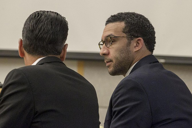 Attorney with Kellen Winslow Jr at defense table