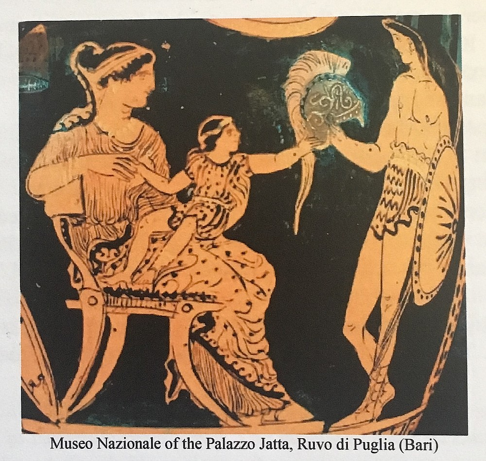 "Miner calls this scene from The Iliad ""emblematic of the work of gender. The child is physically on his mother's lap, but his left hand is stretching out toward his father's helmet. She has the child's weight, but the father has his gaze. You should be feeling the tension; the child is part of his mother's world, but he's moving toward a future because of the salient male."""