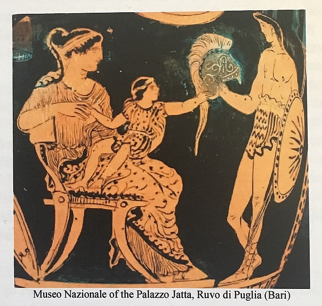 """Miner calls this scene from The Iliad """"emblematic of the work of gender. The child is physically on his mother's lap, but his left hand is stretching out toward his father's helmet. She has the child's weight, but the father has his gaze. You should be feeling the tension; the child is part of his mother's world, but he's moving toward a future because of the salient male."""""""