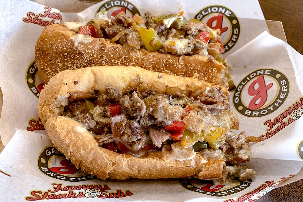 A ribeye cheesesteak with sweet peppers