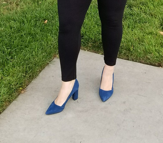 Jenna's blue suede pumps add a pop of color to her polished office outfit