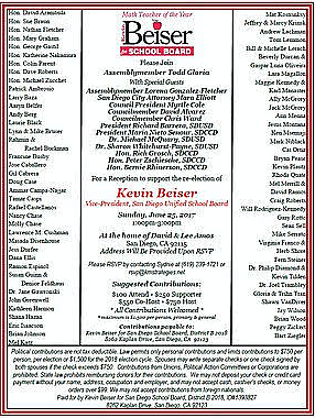Kevin Beiser invitation with Todd Gloria name on top