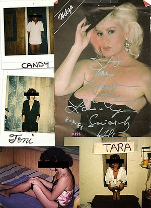 Ancient porn star Helga booked porn stars for signings at Jolar, Candy in front of private show booth, Toni in dressing room, Honey in show booth, and Tara as seen from inside the dressing room, sitting on steps going into her show booth