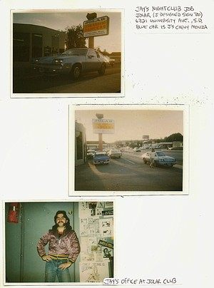 My old Chevy Monza parked under the new Jolar sign I'd just installed and me in my new office, muttonchops and all...mock me if you must, but that jacket was STYLIN' in the mid-'80s!